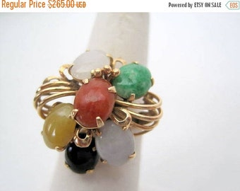 Multi Stone Jade Ring - 14K Gold Cluster -  Size 6.5 - Collectible Jade Butterfly