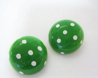 Polka Dot Earrings - Green and White  - Enamel  Clip Ons