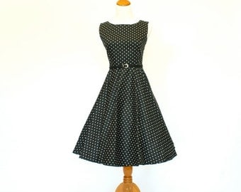 20% OFF Sale 50's/60's Retro Fit and Flare Dress, Black Polka-Dot Dress, Circle Skirt Dress