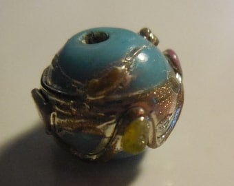 Turquoise Lampworked Glass Beads - 18