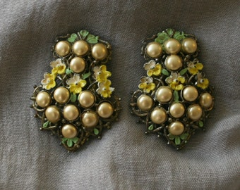 Pearl Dress Clips Pair of Vintage Pearl and Enamel Clips Circa 1940