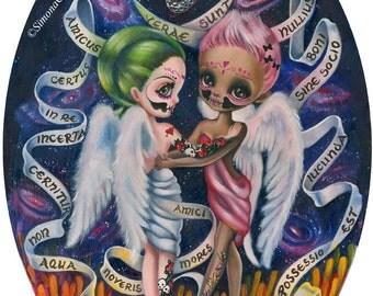 Friends Forever LIMITED EDITION print signed numbered Simona Candini Angels Skulls lowbrow pop surrealism art big eyes art illustration