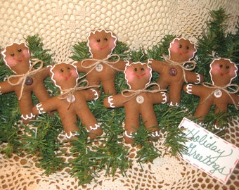 Set of 6 Country Christmas Gingerbread - House-warming gift - Bowl Fillers -Fabric Tree Ornaments - Prim Decor