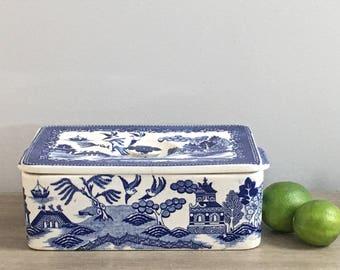 Vintage Blue Willow Covered Dish Rectangular Lidded Moriyama Flow Blue Japan