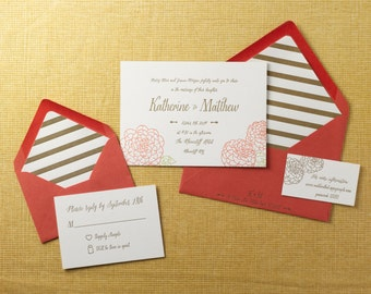 Fall Flower letterpress wedding invitation