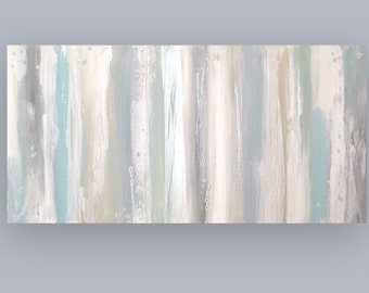 Art, Large Painting, Original Abstract, Acrylic Paintings on Canvas by Ora Birenbaum Titled: Sand Dollar 2 24x48x1.5""