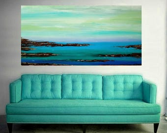Seascape,Large Art, Large Painting, Original Abstract, Acrylic Paintings on Canvas by Ora Birenbaum Titled: Low Tide 10 30x60x1.5""