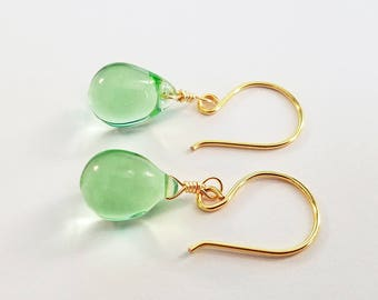 Peridot Glass Teardrop Earrings - Choice of Silver or Gold Plated