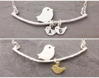 Gifts for Moms, 1-6 kids, personalized jewelry, mom necklace, gifts for single mom, initial necklace, single mother, bird family, N1