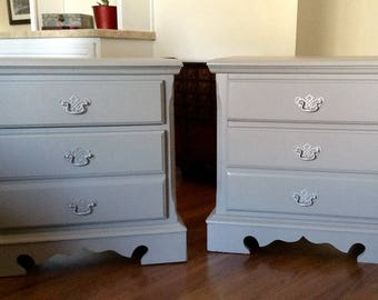Pair of Classic Gray Bassett End Tables, Nightstands