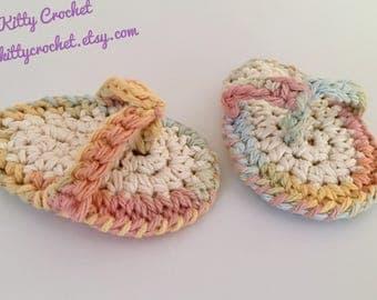 Baby Flip Flop Sandals - Crocheted Cotton - 6 Weeks to 6 Months