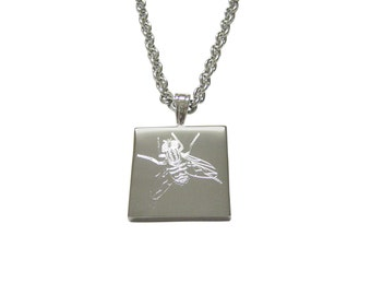 Silver Toned Etched Fly Bug Insect Pendant Necklace