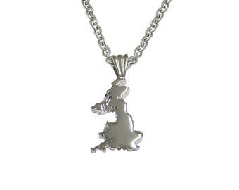 Great Britain Map Shape Pendant Necklace