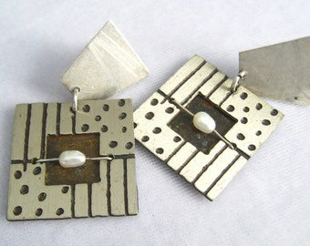 Modernist Mixed Metal Drop Earrings.  Brushed Silver tone Squares, Darkened Design Cuts, Added Pearl & Brass or Bronze Accents.
