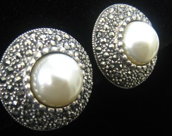 """SALE Sterling, Marcasite & Faux Pearl Earrings Marked 925 are 13/16"""" Diameter, 3/8"""" Deep.  Clip Backs.  FAB Condition."""