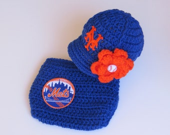 Newborn Baby New York Mets Outfit Set, Hat, Cap, Diaper Cover, Knitted Crochet, Baby Gift, Photo Prop, Baseball, MLB