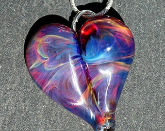 Heart Necklace Glass Jewelry, Flamework Pendant Lampwork Boro, Hand blown Amber Purple Heart Pendant