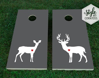 Wedding Cornhole Set | Deer Love | Buck & Doe | Heart | Modern | Baggo | Lawn Game | Corntoss