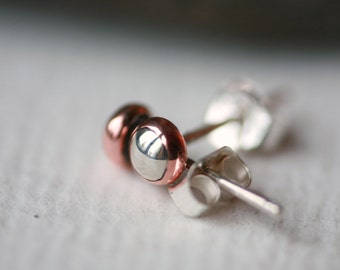 Tiny 4mm Mixed Metal Silver and Copper Post Earrings with Sterling Silver Posts and Friction Backs in Polished Finish