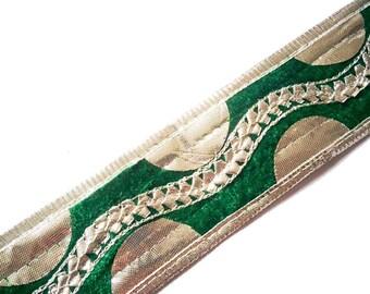 Emerald Green and Silver Gota Patti - Sari Border - Gota Ribbon for Wedding Lehenga Dresses - Velvet Gota Border