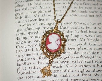 OOAK Jane Austen/ Georgian Regency Style Red Cameo Necklace