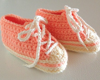 Baby booties #B029 converse tennis trainers shoes slippers footwear crochet infant toddler girl 0-12 months