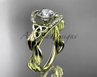 """14kt yellow gold diamond celtic trinity knot wedding ring, engagement ring with a """"Forever One"""" Moissanite center stone CT7326"""