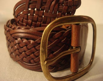 Boho 1990s Vintage Brown Square Buckle Woven Leather Belt