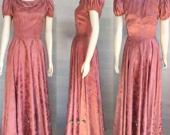 Dusky pink damask 1930s evening gown with full skirt