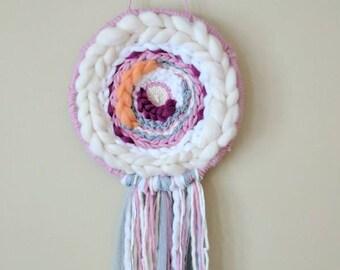 Take The Wheel Circle Tapestry / circular weave /woven wall art/ wall hanging/ pink, white, orange