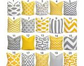SALE.Gray Yellow Pillows.14x14 inch Decorative Pillow Cushions.Home Decor.Popular.Grey.Yellow.Cushion Covers.Pillows.Nursery Pillows.Small