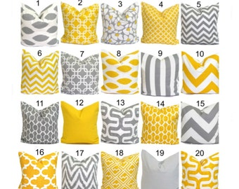 SALE.Gray Yellow Pillows.14x14 inch Decorative Pillow Cushions.Home Decor.Popular.Grey.Yellow.Cushion Covers.Pillows.Nursery Pillows.Small