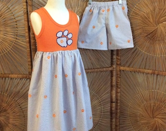 BROTHER SISTER CLEMSON set! girl's orange tank dress with matching boys shorts in purple seersucker with orange embroidered paws