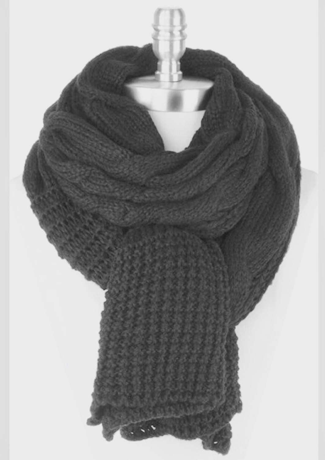 mens gift scarf black knit thick winter scarf knit