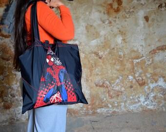 Black UpCycled Spiderman Tote Bag from Brocken Umbrella
