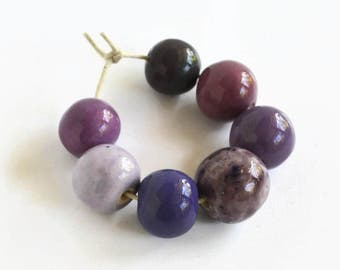 Beads, lavender and white ceramic beads, African beads, handmade African beads, ceramic beads, clay beads from Africa, ceramic beads
