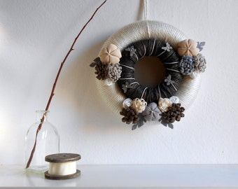 Nordic wreath Brown wreath Rustic scandinavian wreath fabric flowers butterflies