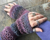 Wrist Warmers/Fingerless Gloves/Lavender/Denim mix