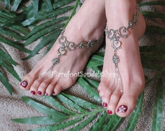Women's Silver Heart Barefoot Sandals Wedding Anklet SIZED Foot Body Chain Jewelry Boho Beach Wedding Shoes Hippie Ankle Toe Ring Jewelry