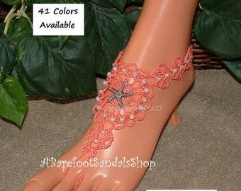 Coral Wedding Shoes Barefoot Sandals Starfish Foot Jewelry Coral Sandal Shoes Beach Sandle SIZED Summer Toe Ring Ankle Bracelet Crochet
