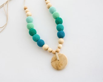 Nursing Necklace, Teal Emerald - Breastfeeding, Babywearing, Baby Shower Gift - Juniperwood - FrejaToys