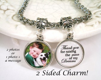 Photo Charm for Pandora bracelet Double Sided Charm Bridal Bouquet Charm Bride Gift for Mother of the Bride Photo Charm for Wife Bracelet