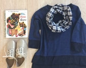 Toddler Infinity Scarf: Navy Plaid Flannel