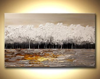 Canvas Print - Stretched, Embellished & Ready-to-Hang  - White Forest - Art by Osnat