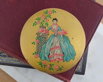 Pretty Vintage Stratton Brass Powder Compact Mirror, Lovely lady in the Rose Garden