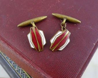 Vintage Art Deco Brass Enamel Cufflinks,  Wedding Cuff links, Red & White Cufflinks