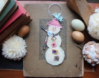 Snowman Handmade Fabric Winter