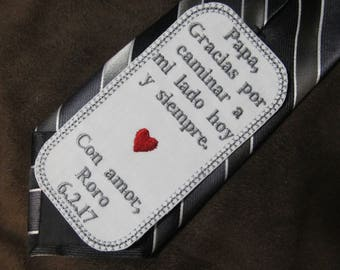 Father of the Bride - Personalized Embroidered Wedding Tie Patch - Spanish Version Shown with Grey Writing
