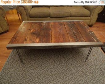 Limited Time Sale 10%OFF Industrial Coffee Table, Old Barn Wood, raw steel trim and hairpin legs, Reclaimed, Character, Authentic, Rustic