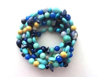 "Organized Chaos Long Necklace/Boho Necklace/Lapis/Turquoise/Aquamarine/Fire Agate/Jade/ 44"""